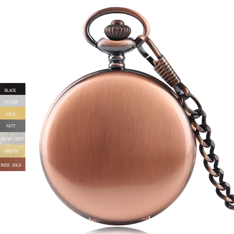 Pendant Fob Watch Silver/Black/Golden/Red Copper/Bronze Polish Smooth Quartz Pocket Watch Arabic Number Dial Women Men Gift
