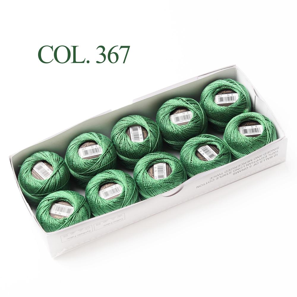 10 коробка с шариками Размер 8 жемчуг Хлопок нитки для вязания 43 ярдов двойная Мерсеризация длинный штапель из египетского хлопка 79 DMC цвета - Цвет: 367