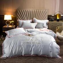 Solid Color Grey Bedding Set Satin Silk Duvet Cover Pillowcase Set Single double Twin Queen King Size 3/4pcs roupa de cama