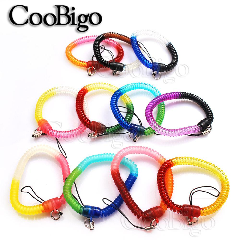Wrist Spiral Stretchable Ring Elastic 15 Multi-Colored Coil Key Chains