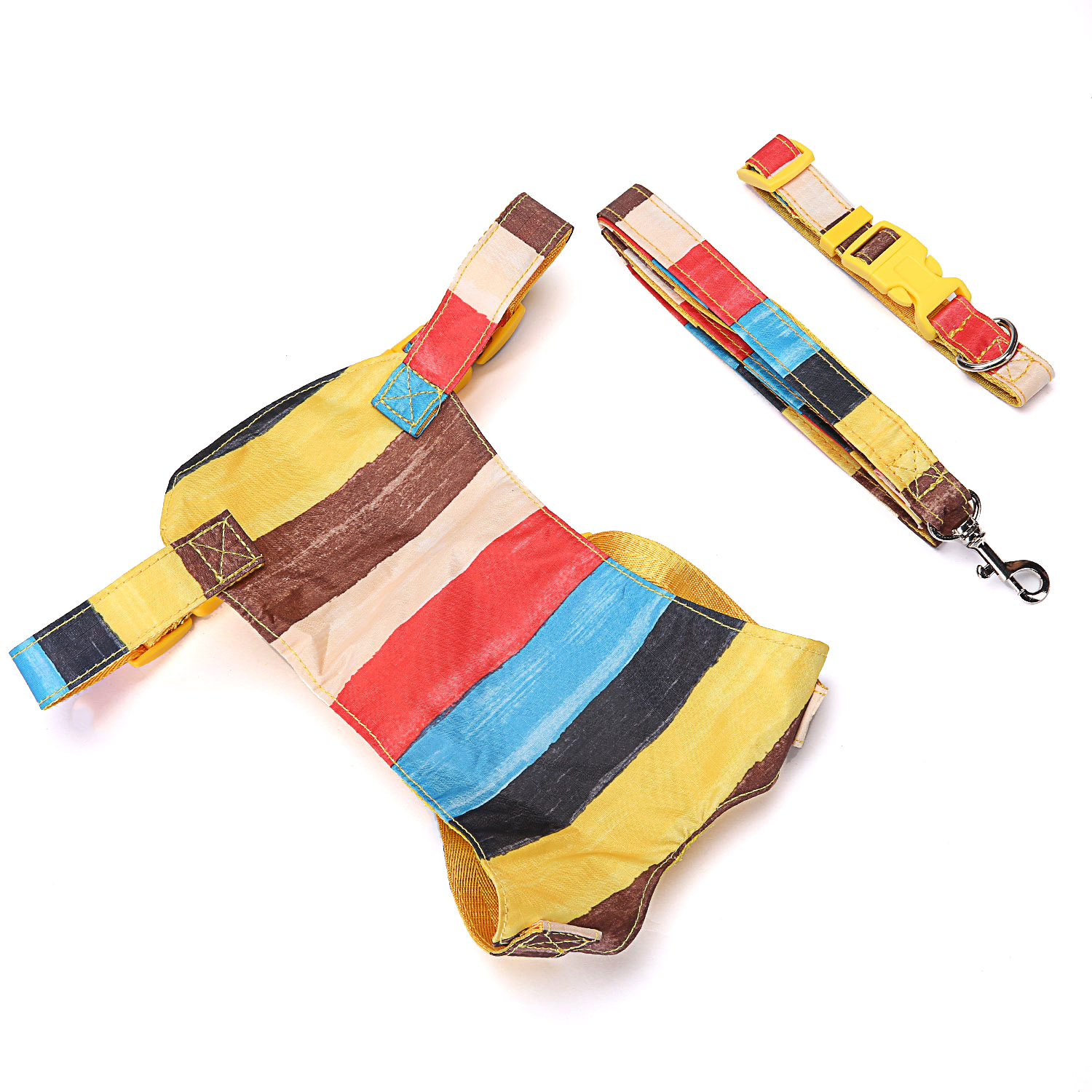 New Style Rainbow Pet Traction Neck Ring Chest And Back Set Medium-sized Dog Traction Set Cats Neck Ring