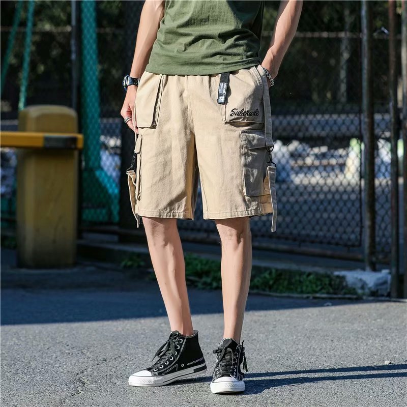 Hong Kong Style Summer Shorts Men's Popular Brand Loose-Fit Multi-pockets Cool Design Casual Pants Street Students Workwear Shor