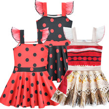 Girls Ladybug Moana Ballet dress Costume Princess Dress Girls Prom Cosplay Dress With Wreath Summer Dresses for kids Girls child(China)