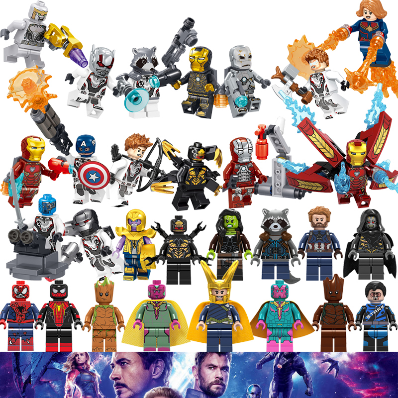 Avengers 4 Endgame Captain America Marvel Iron Man Thanos Hulk Super Heroes Mini Figures Building Block Legoinglys Christmas Toy