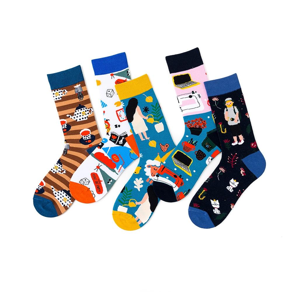 1 Pair Women Socks Cotton Colorful Funny Socks Female Cute Lovely Painting Socks 36-43EUR