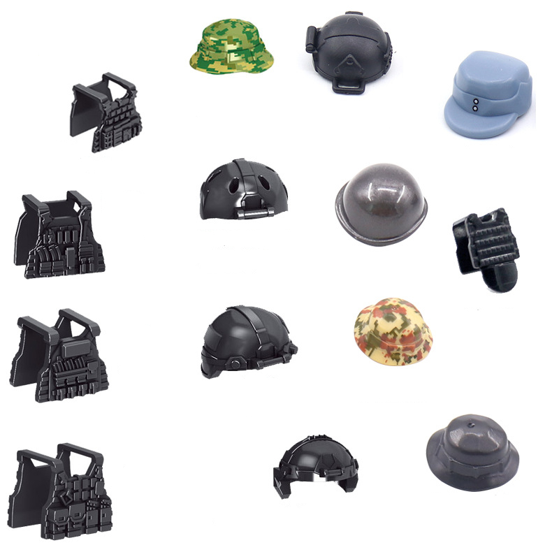 Military Swat Weapon Building Blocks Helmets Pack City Police Soldier Vests WW2 Army Accessories MOC Brick Boys Gift Toys C189