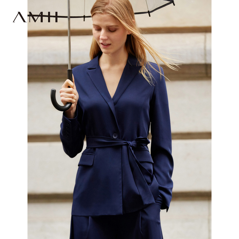Amii Office Lady Two Piece Set Spring Women Fashion Solid Long Sleeve Lace Up Blazer Wide Leg Pants 11940067
