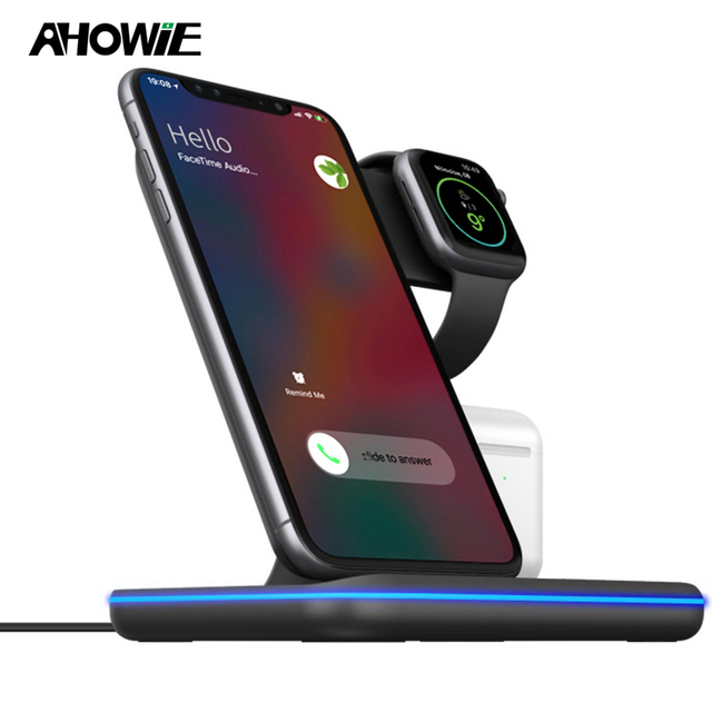 Qi Wireless Fast Charger Charging Pad Stand Dock 15W For Iphone 11 Pro Max Apple Watch 4 3 2 Airpods Station Chargeur Induction