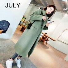 JULY Women Wool Coat,2019 Autumn Winter New Casual Korean Version Slim Long Coat,Full Sleeve Suit Collar Womens Plus Size Coats