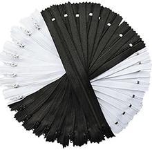 10 Pcs 15-60cm (6-24 Polegada) qualidade Branco Preto Comprimento Mista DIY Acessórios de Vestuário de Nylon Bobina Zippers Alfaiate Costura Artesanato
