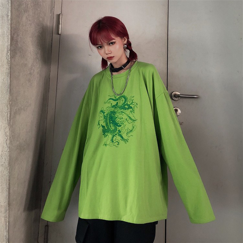 Green T-shirt Chemise Dropshipping Female Retro Harajuku Gothic Mulheres Dragon Shirt Short-sleeved Stranger Things Vegan Vintag