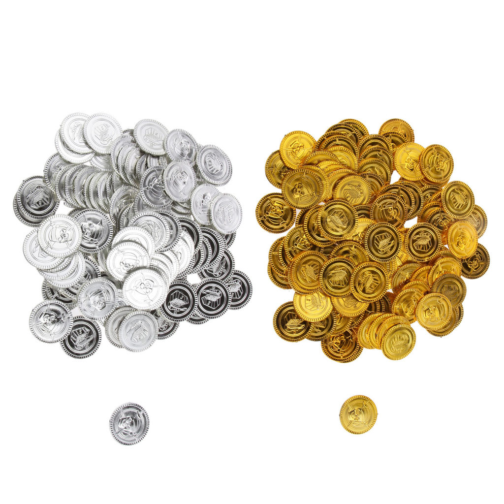 150  Plastic Pirate Gold Play Toy Coins Birthday Party Favors Pinata Money Coin