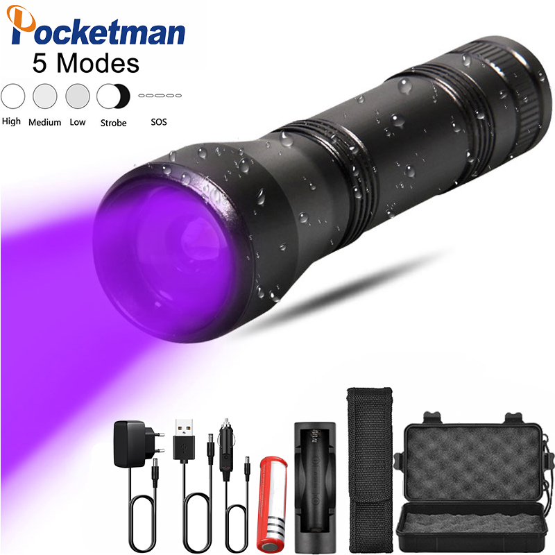 5 Modes LED UV Flashlight Ultraviolet Torch With Zoom Function Mini UV Black Light Pet Urine Stains Detector Scorpion Hunting
