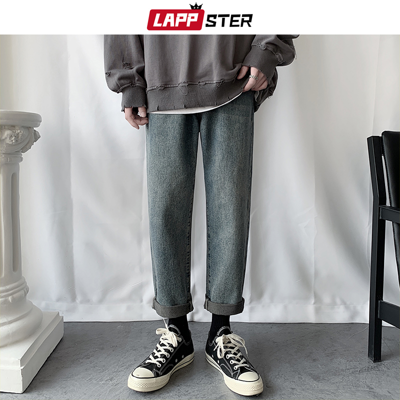 LAPPSTER Men Casual Hip Hop Blue Jeans Pants 2020 Mens Harajuku Vintage Denim Pants Mens Solid Japanese Streetwear Trousers 3XL