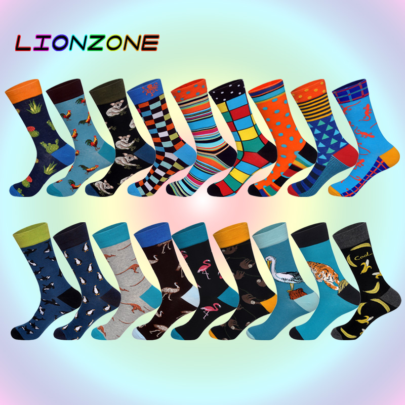 2018 New Arrived Brand Men Socks Funny Animals Patterns Design 18 Colors British Style Designer Cotton Long Socks Happy