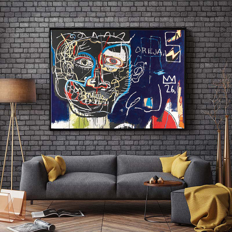 Abstraction Painting Primitive Art Basquiat Wall Decor Jean-Michel Primitive Painting Print Canvas Graffiti Pop Art Office Decor,