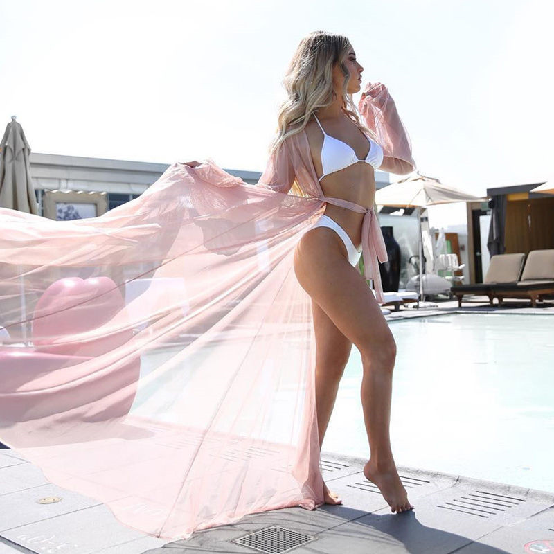 2020 Summer Beach Cover Up Women Beach Dress Solid Bikini Cover Up Swimwear Women Robe De Plage Beach Wear Cardigan Bathing Suit