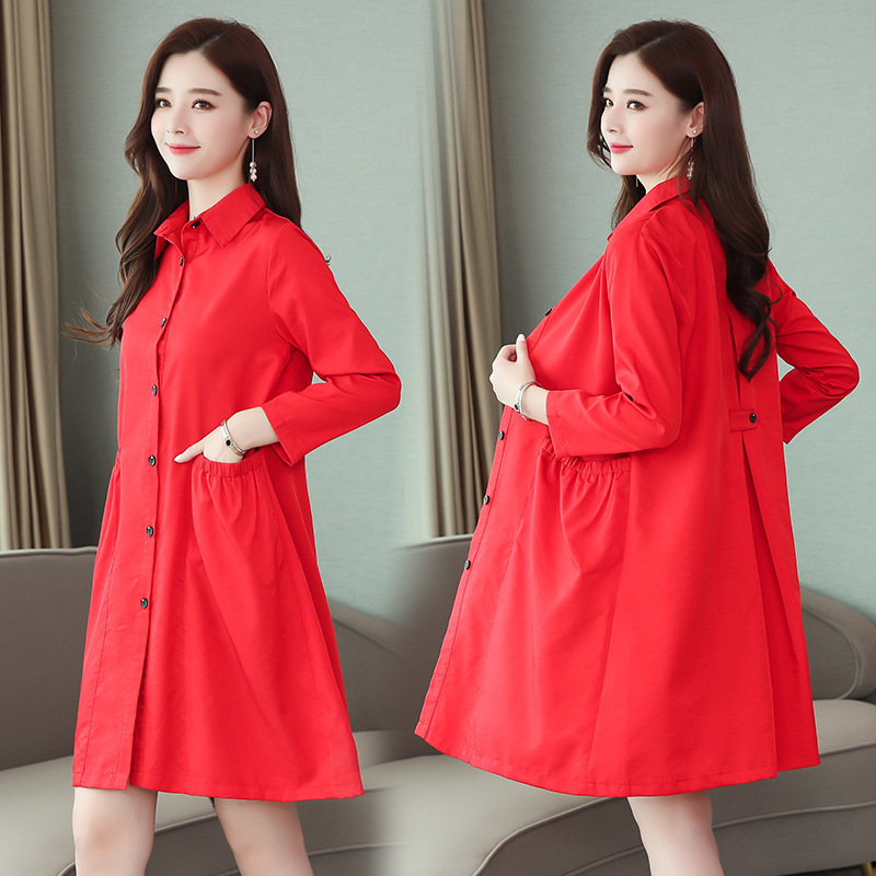 Trench Coat Women's Spring And Autumn Mid-length Korean-style 2019 New Style Loose-Fit Elegant over-the-Knee Long Cape Trench Co thumbnail