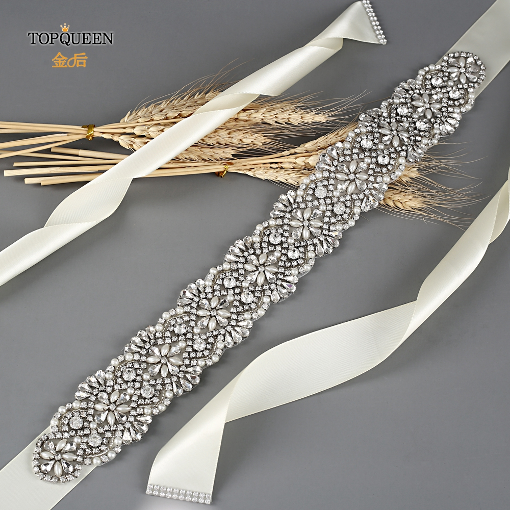 TOPQUEEN S04B Silver Rhinestone Embellished Wedding Belts Pearl Wedding Belt Womens Jewel Belt Clear Belt Ferragamo Belt