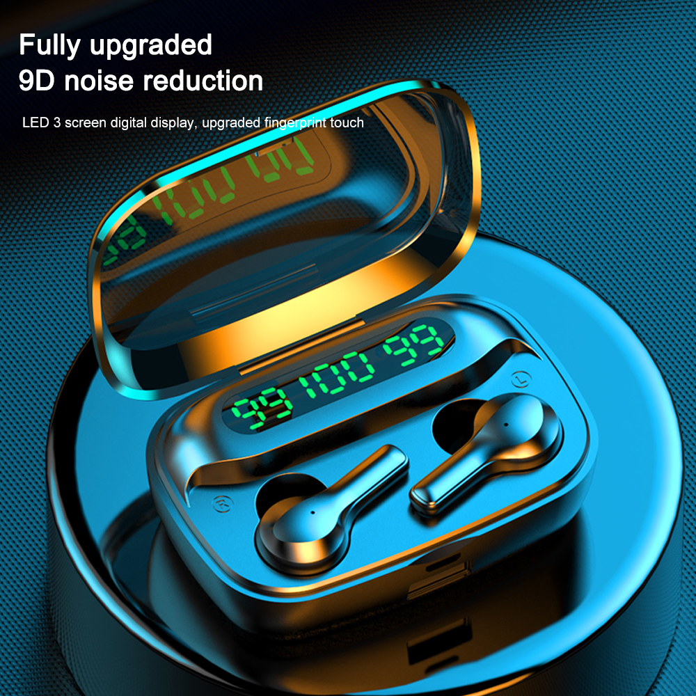 R3 TWS Wireless Earphone Bluetooth V5.0 Music Headset Three LED Power Display EarbudsSport Earphones With Mic For Phone