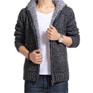 Image 1 - Manteau en pull épais pour hommes, vêtement dextérieur en laine polaire, col en cachemire, collection pull avec fermeture à glissière, automne et hiver