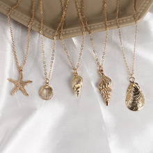 2019 New Shell Starfish Cowrie Necklace For Women Fashion Gold Pendant Charm Chain Necklace Choker Boho Beach Jewelry Wholesale new lemon starfish costly necklace