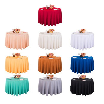5PCS Polyester Round White Tablecloth For Wedding Hotel Table Cloth Table Cover Overlay tapetes nappe mariage Tablecloth Black