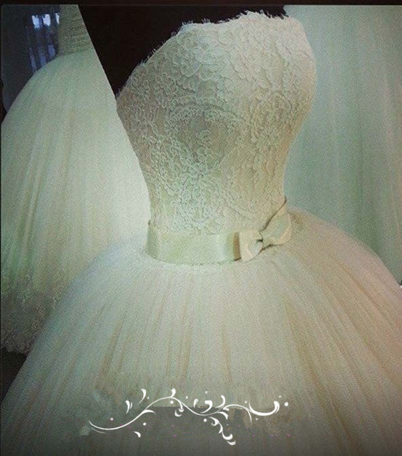 Sexy Romantic Strapless Sleeveless With Bow Sash White Graceful Long Lace Ball Gown Wedding Dresses 2014 Vestido Novia MF182
