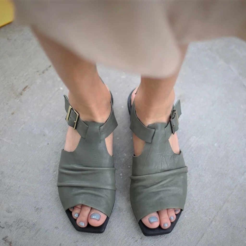2020 gladyatör sandalet kadın İlkbahar yaz plaj ayakkabısı Peep Toe rahat Sandalias kadın roma tarzı açık toka kayış sandalet