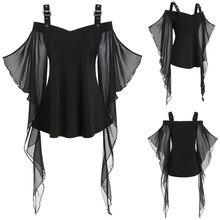 Новые женские футболки для Хэллоуина готический крест-накрест кружева плюс размер Вставка бабочка рукав футболка Хэллоуин костюм модные топы