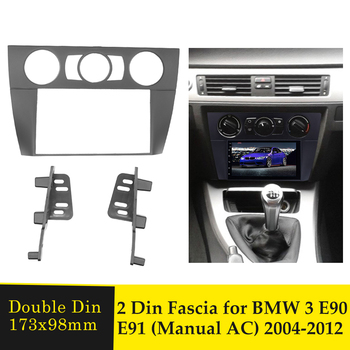 2Din Car Radio Fascia DVD Player Audio Frame Install Panel Fascias Dashboard Trim Kit for BMW 3 Series E90 E91 E92 E93 2005-2012 image