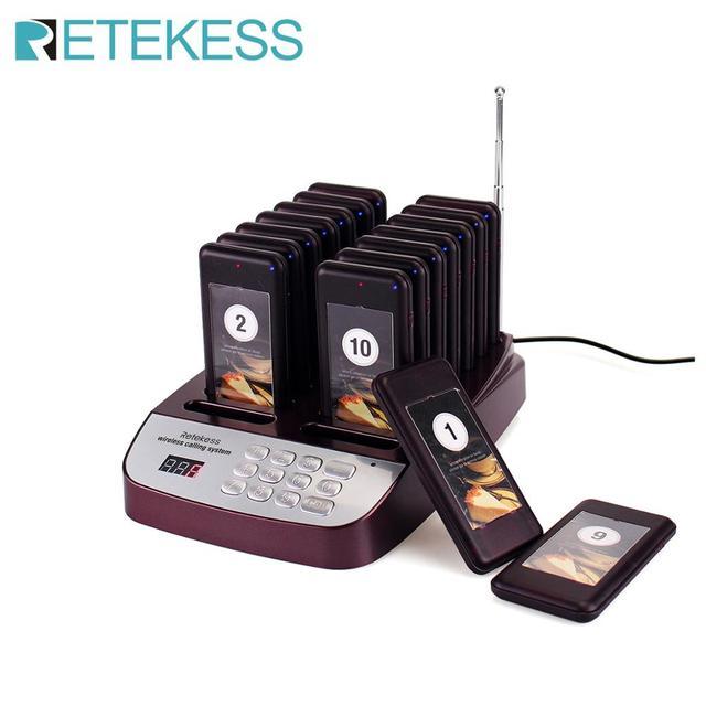 Retekess T113S 식당 호출기 무선 호출 대기열 시스템 웨이터 호출 시스템 코스터 호출기 식당 장비