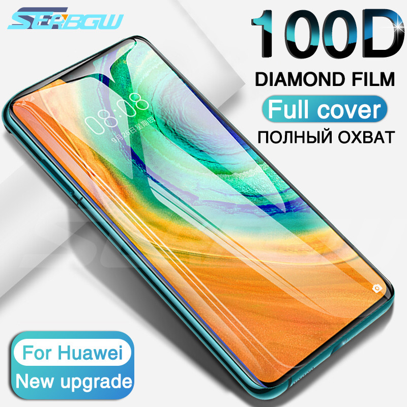 100D Glass On The For Huawei Mate 30 20 10 Pro 9 Lite 20X Screen Protector Tempered Glass Huawei P Smart 2019 Protective Film