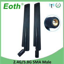 10pcs 2.4GHz 5GHz 5.8Ghz Dual Band wifi Antenna 8dBi SMA Male Connector wi fi 2.4 ghz 5G 5.8G Antena aerial wireless router