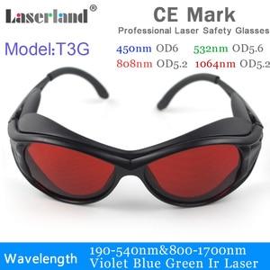 T3G 190-540nm 800-1100 532nm 1064nm ND:YAG UV azul verde IR gafas de protección láser, gafas de seguridad CE OD4 + OD5 +