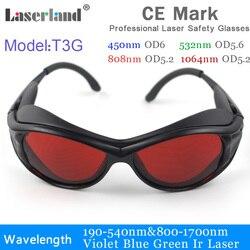 T3g 532nm 1064nm 190-540nm 800-1100 multi comprimento de onda laser óculos de segurança proteção laser protetor glassess nd: yag