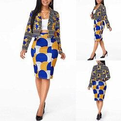2 unids/set Mujer solapa Blazer corta traje Top impreso mitad traje de falda de vuelta-abajo traje de negocios traje Africana trajes de tela