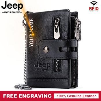 Men Wallets Fashion Short Desigh Zipper Card Holder Leather Purse Solid Coin Pocket High Quality Male Luxury Brand Chain Purse