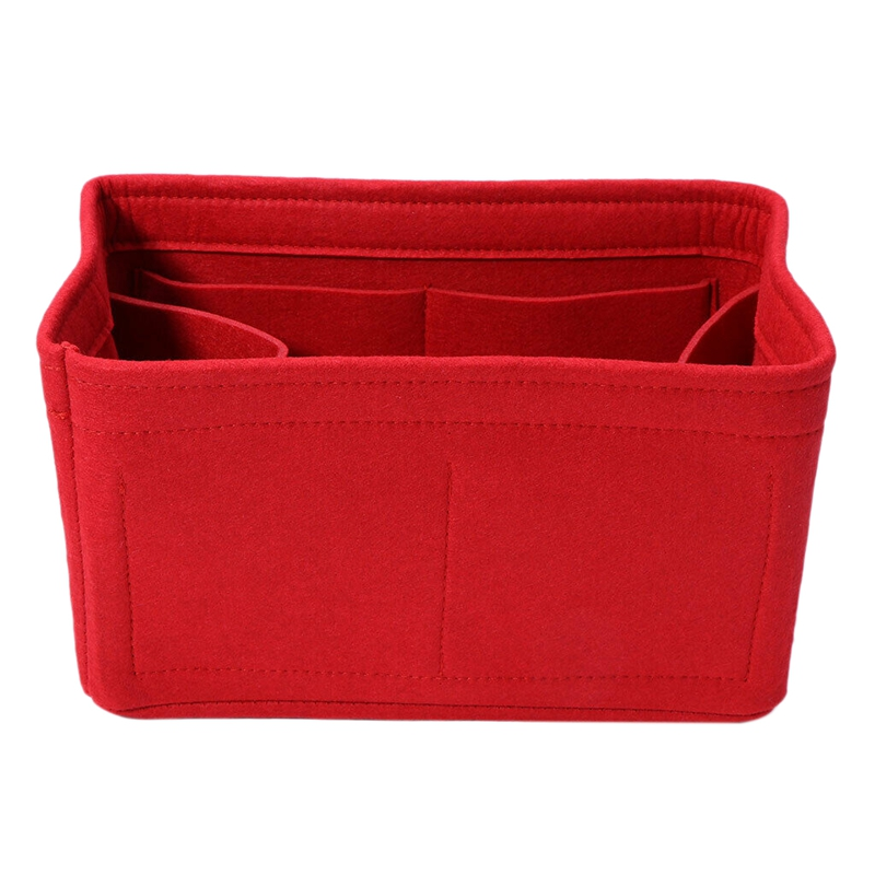 HOT-Home Storage Bag Felt Insert Bag Makeup Organizer Inner Purse Portable Cosmetic Bags Storage Red Storage M image