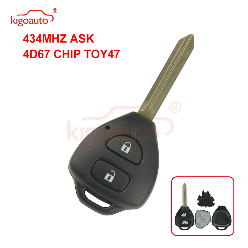 Kigoauto <font><b>Remote</b></font> <font><b>key</b></font> 2 button 434Mhz toy47 for <font><b>Toyota</b></font> Auris Corolla Verso <font><b>Yaris</b></font> 2010 2011 image