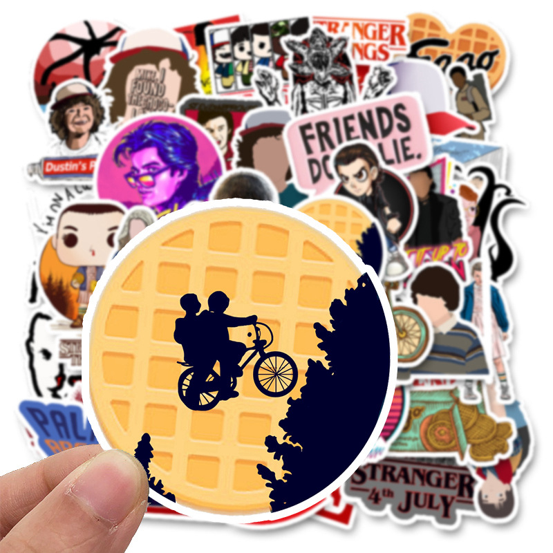 Image 3 - 50 Pcs Stranger Thing Figure Stickers Set refrigerator Sticker For Luggage Skateboard Motorcycle Laptop Waterproof Sticker-in Stickers from Toys & Hobbies
