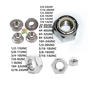 цена на 10pcs Us  304  Stainless Steel UNC or UNF Anti-loose Nuts, Self-locking Nuts, Nylon Lock Nut,Flange Hexagon Nut,Hex Nuts