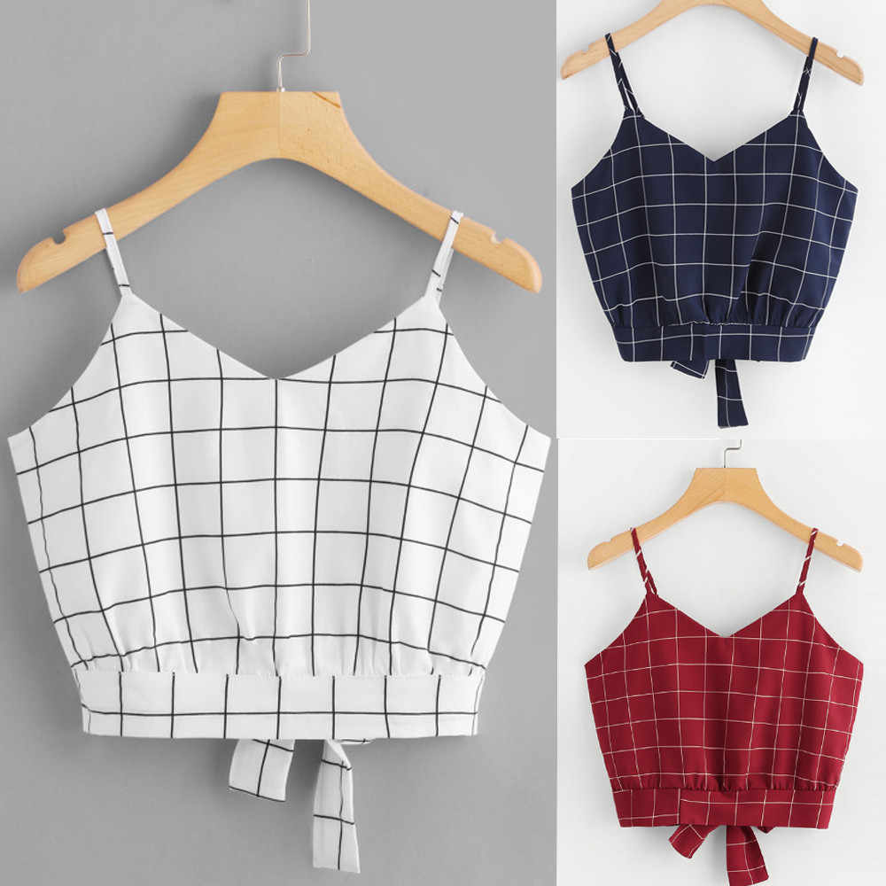 Fashion Self Tie Tank Tops Womens Crop Tops Band Tshirt Hemdje Tops Casual Zomer Dames Sexy Plaid Tops Vest Vrouwelijke blusas