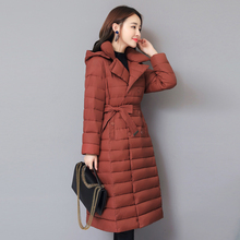 KMVEXO 2019 Turn Down Collar Winter Thick Solid Jacket Women Padded Breasted Buttons Ladies Long Parka Outwear Warm Coat