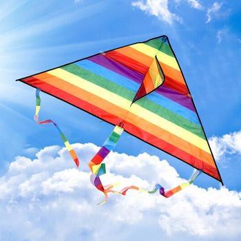 1 Set Rainbow Kite Kids DIY Toys Long Tail Outdoor Kites Flying Parent-Child Game Stunt Surf Kite Control Line Pigment Kite 1
