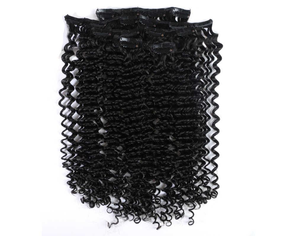 Addbeauty 7 adet/takım Kinky kıvırcık dalga İnsan saç uzantıları klip 120 g/takım Remy doğal siyah renkli makine yapımı