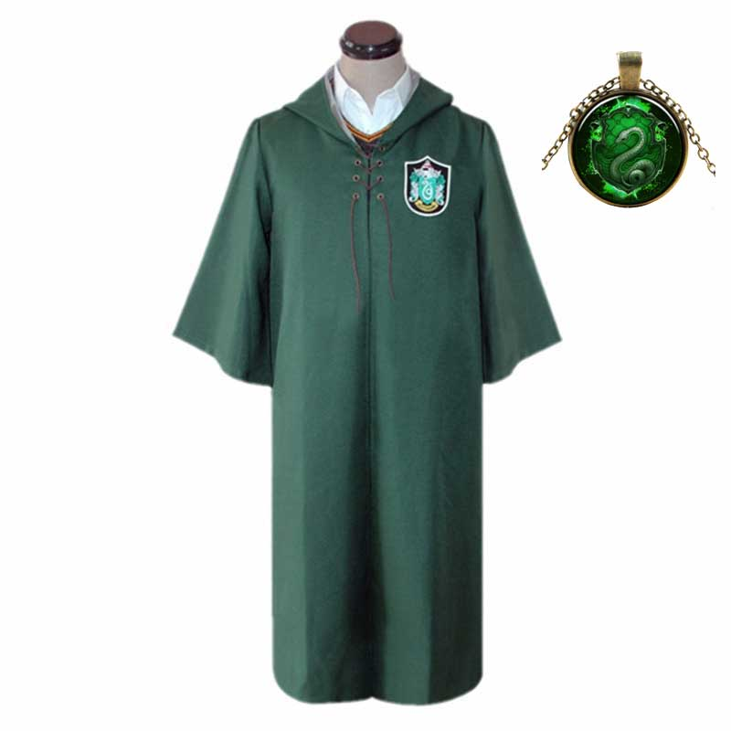 Children Men Women Slytherin Robe Cloak Cosplay Magic School Uniform Sweater Wand Master Pastor Hermione Halloween Costume 2