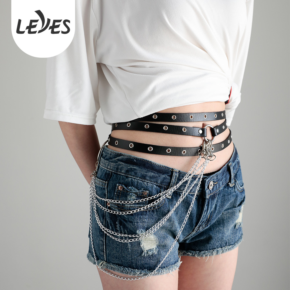 Fancy Women Punk Chain Fashion Belt Rock Black Sexy Slim Waist Strap Rivet Designer Leather Belts For Ladies Street Dance Brown