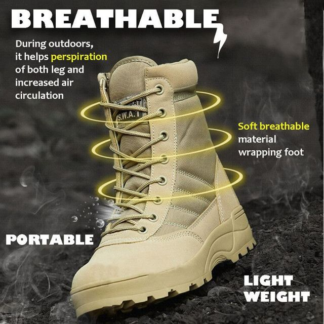 Autumn Outdoor Men Hiking Shoes Military Combat Camping Trekking Fishing Hiking Non-slip Buffer Shock Spring Breathable Shoes 5