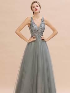 Robe-De-Soiree Prom-Gowns Beads Evening-Dress Crystals Sequins Tulle Vestido-De-Festa